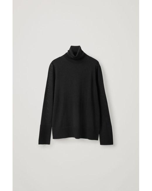 COS Black Turtleneck Merino Sweater