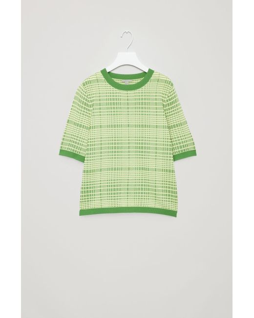 COS - Green Checked Jacquard Knit Top - Lyst