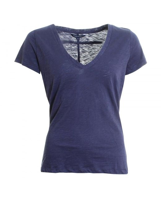 French Connection - Blue Fresh Slub Jersey Short Sleeve Round-neck Womens Top - Lyst