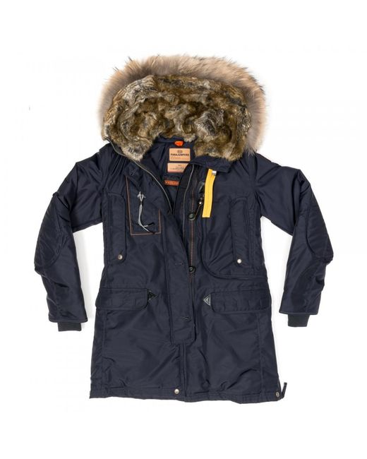... Parajumpers - Blue Kodiak Womens Hooded Long Parka - Lyst ...