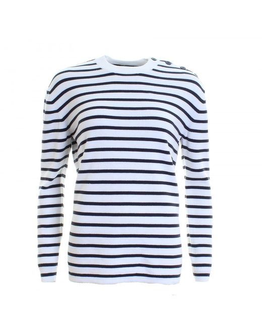 French Connection | Blue Mozart Milano Stripe Long Sleeve Womens Crew Neck | Lyst