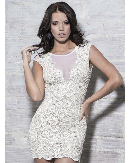 Baccio Couture   White Ines - Painted Short Dress   Lyst