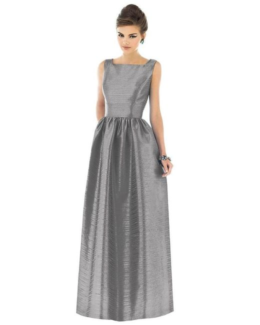 Alfred Sung - Gray Dupioni A-Line Gown - Lyst
