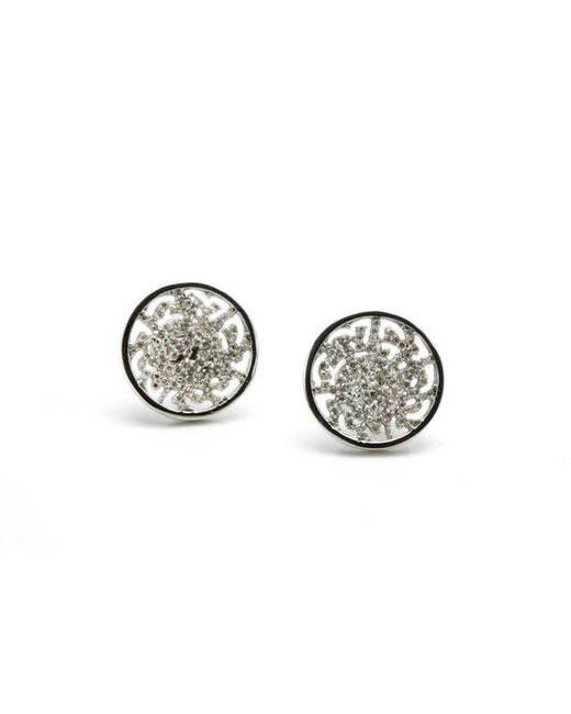 Trésor | Metallic Signature Logo Earring In Mm With Diamond In K White Gold | Lyst