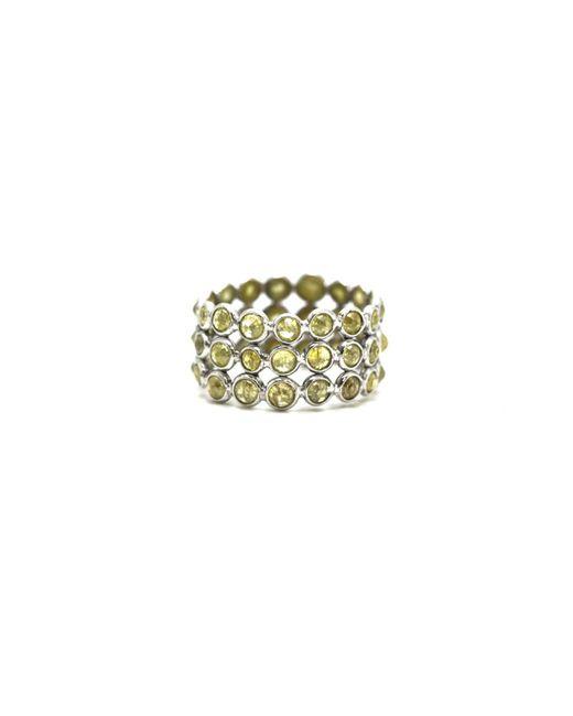 Trésor   Metallic Rose Cut Organic Diamond Triple Row Ring Band In K White Gold   Lyst