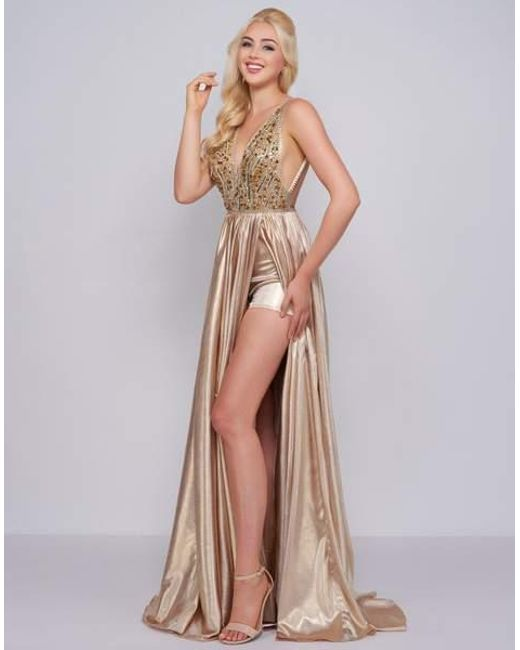 86f4abce077 Mac Duggal - Metallic Prom - 12143m Beaded Plunging V Neck With Overskirt -  Lyst ...