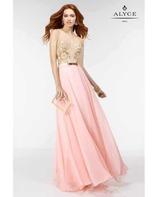 Alyce Paris Prom Dress In Rosewater Nude Gold In Pink  Lyst-6592