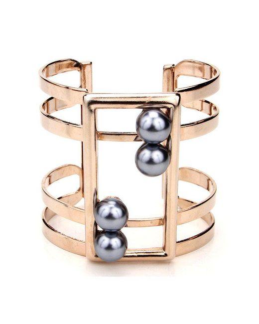Ben-Amun - Metallic Golden Cuff With Black Pearls - Lyst