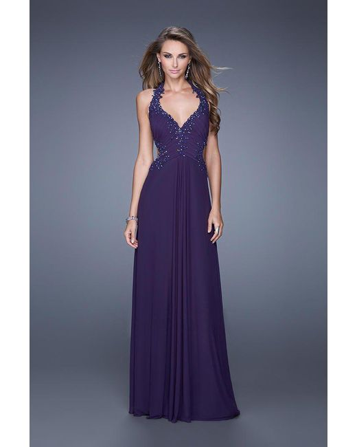 4e56c014 Lyst - La Femme 20867 Beaded Lace Ruched Halter Evening Gown in Purple