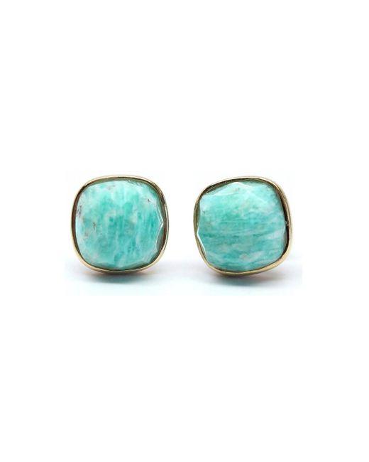 Rachael Ryen   Multicolor Amazonite Cushion Cut Gold Framed Stud Earrings   Lyst