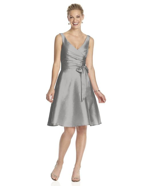 Alfred Sung - Gray D Bridesmaid Dress In Chinchilla - Lyst