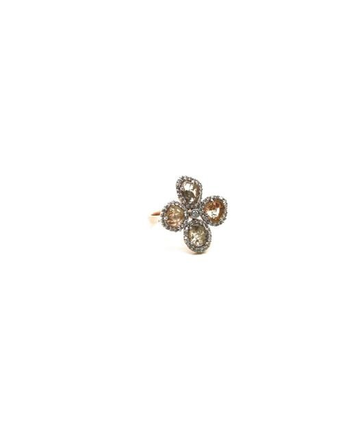 Trésor | Metallic Organic Diamond Flower Ring With White Diamond Pave Frame Set In K Rose Gold | Lyst