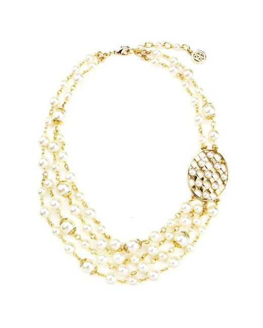 Ben-Amun | Metallic Lattice Pearls Multi Layers Necklace With Oval Pendant | Lyst