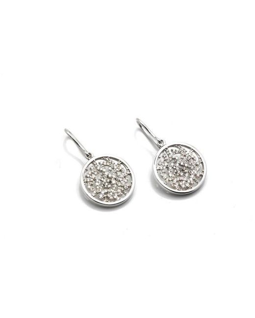 Trésor - Metallic Signature Logo Earrings In Mm With Diamond In K White Gold - Lyst