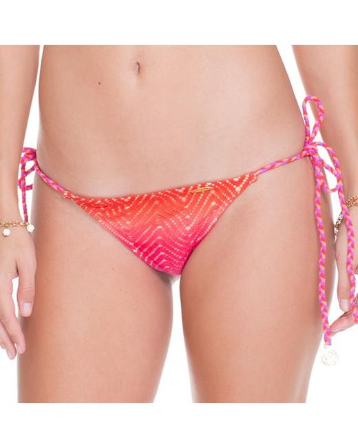 Luli Fama | Pink Wavey Brazilian Ruched Back Tie Side In Multicolor (lz) | Lyst