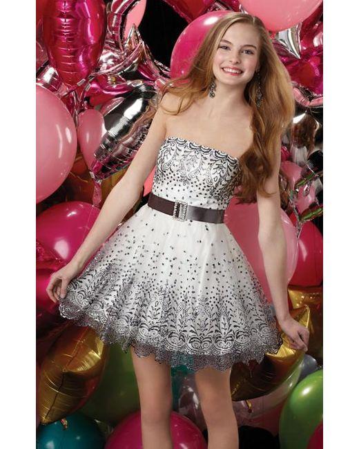 Alyce Paris - Short Dress In Diamond White Charcoal - Lyst