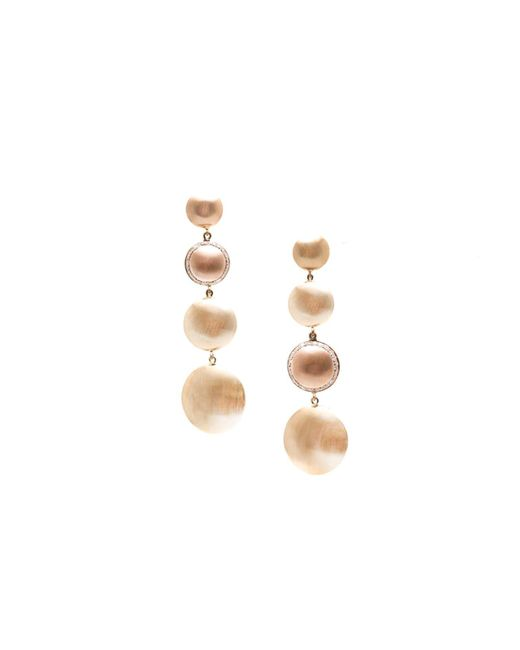 Trésor | Metallic Lente Tier Earrings In K Yellow Gold & Rose Gold With Diamond With Satin Finish | Lyst