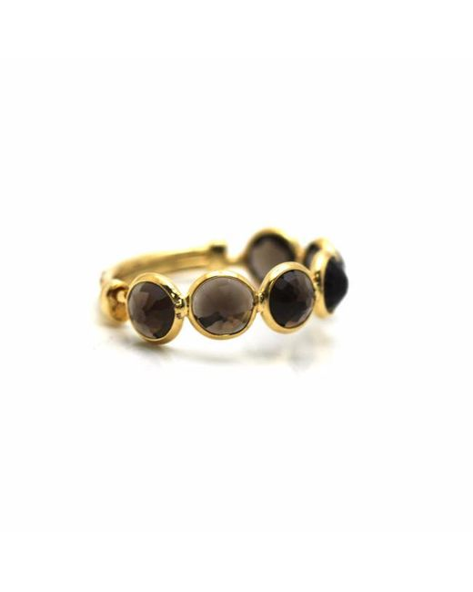 Trésor   Metallic Smoky Quartz Round Stackable Ring Band With Adjustable Shank In K Yellow Gold Msq   Lyst