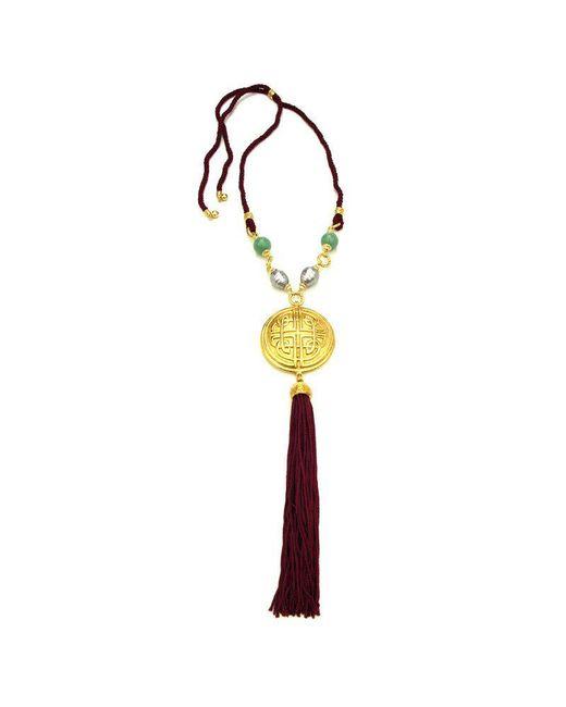 Ben-Amun | Metallic Silk Road Empress Medallion Pendant Tassel Necklace | Lyst