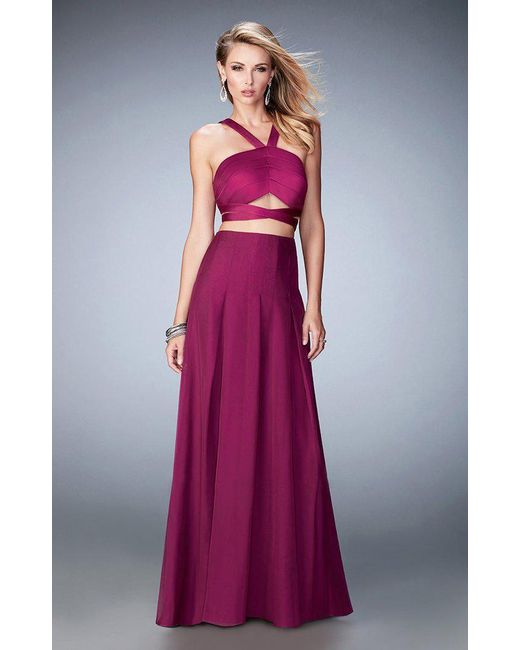 La Femme - Purple 22555 Banded Strapped Halter Gown - Lyst