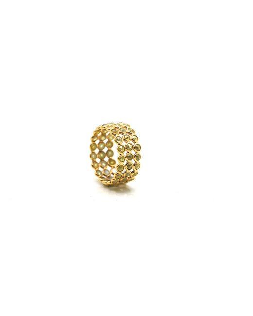 Trésor - Metallic Rose Cut Organic Diamond Triple Row Ring Band In K Yellow Gold - Lyst