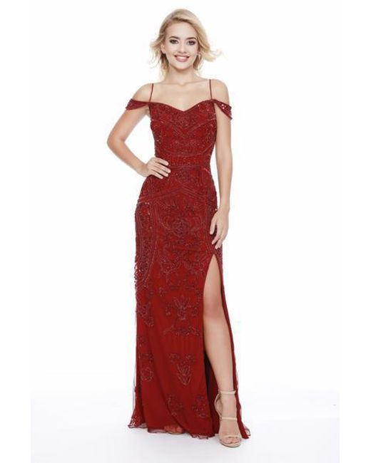 Lyst Shail K 12198 Sequined Off Shoulder Evening Gown With Slit In Red