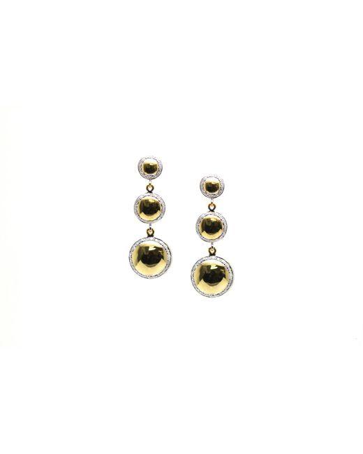 Trésor - Metallic Lente Tier Earrings With Pave Diamond Frame In K Yg - Lyst