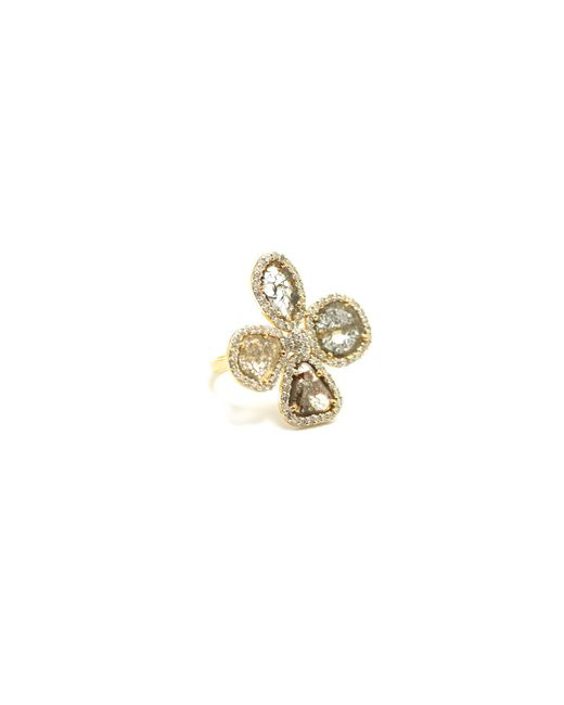 Trésor | Metallic Organic Diamond Flower Ring With White Diamond Pave Frame Set In K Yellow Gold | Lyst