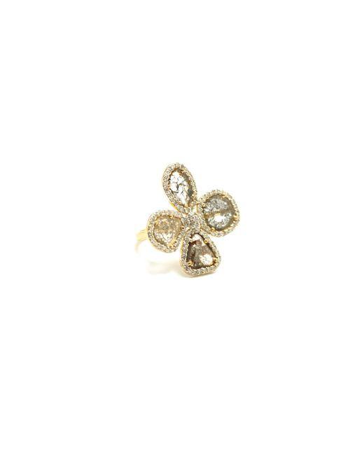 Trésor - Metallic Organic Diamond Flower Ring With White Diamond Pave Frame Set In K Yellow Gold - Lyst