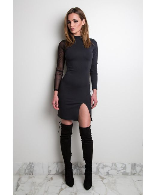 Donna Mizani - Black Long Sleeve Slit Dress - Lyst