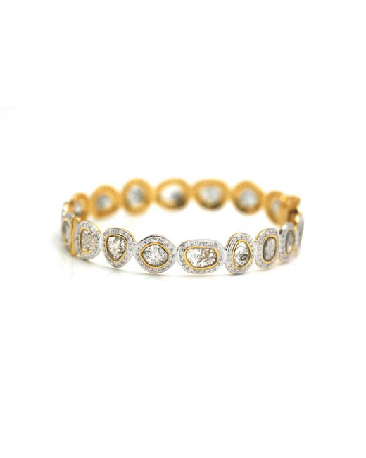 Trésor - Raw Organic Diamond Slice & Colorless Brilliant Diamond (. Cts) Bangle Bracelet In K Yellow Gold - Lyst