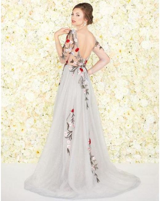 ccfee235f85 ... Mac Duggal - Multicolor Couture - 20125d Floral Embroidered Dress With  Overskirt - Lyst