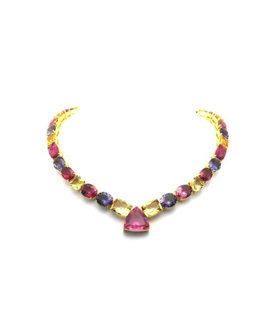 Trésor | Metallic K Yellow Gold Necklace With Multicolor Tourmaline, Yellow Beryl, Iolite & Tanzanite | Lyst