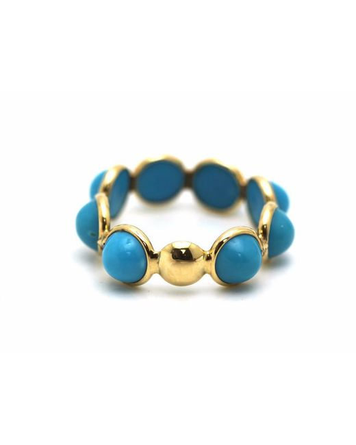 Trésor   Black Turquoise Smooth Round Ring Band In K Yellow Gold   Lyst