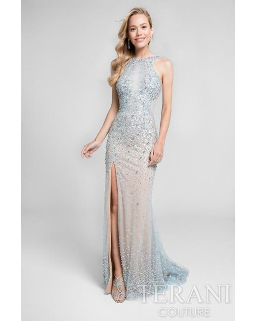 Terani - Blue Crystal Beaded Halter Long Prom Gown P - Lyst