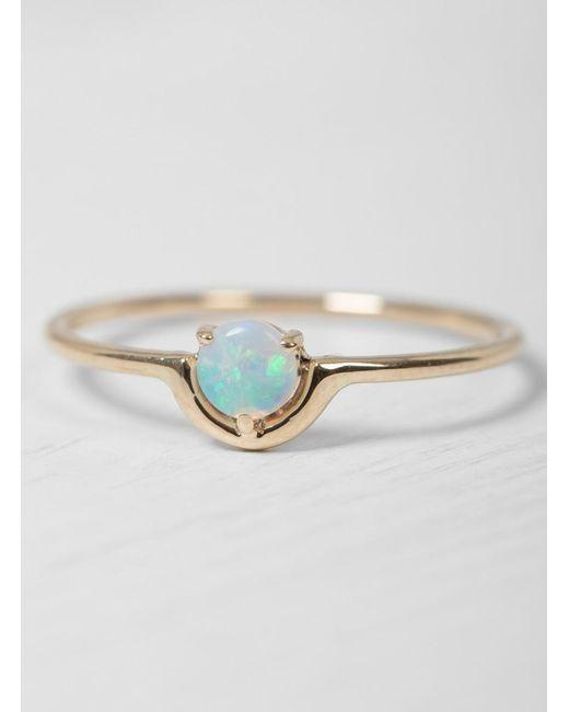 Wwake - Metallic Single Nestled Opal Ring - Lyst
