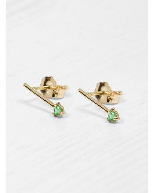 Wwake - Green Emerald One Step Bar Earrings - Lyst