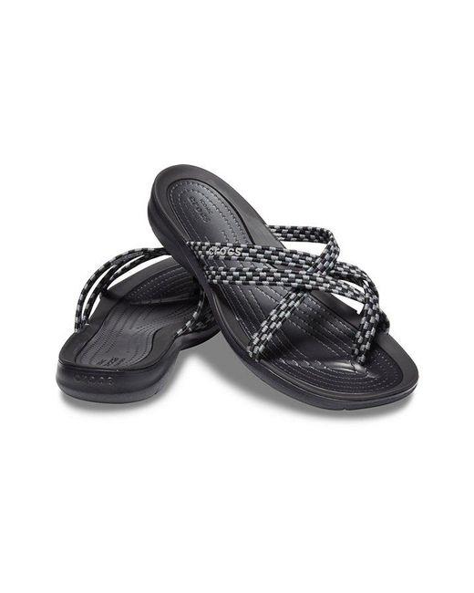 e11aabdf3 ... Crocs™ - Black Swiftwater Braided Webbing Flip - Lyst ...