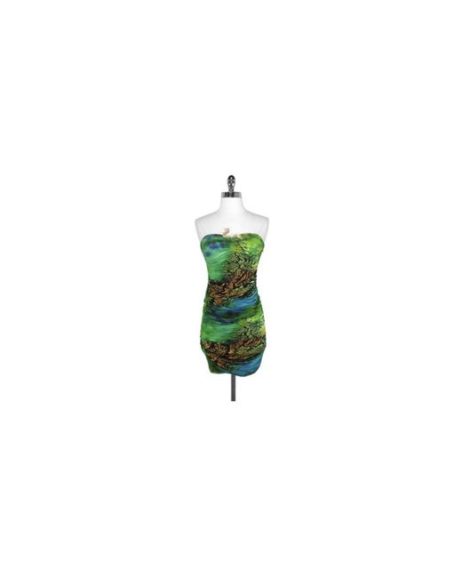 Roberto Cavalli - Green Snake Brooch Strapless Dress - Lyst