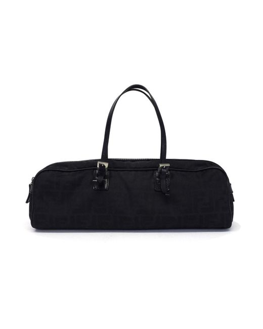 Fendi - Black Vintage Zucca Canvas & Leather Oblong Handbag - Lyst