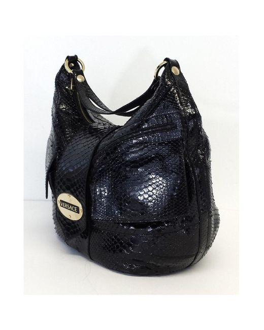 7c7e3fd4de ... Versace - Black Patent Snakeskin Shoulder Bag - Lyst ...