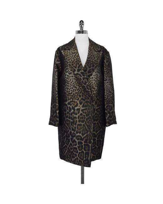 Lanvin - Brown Silk Blend Leopard Print Coat - Lyst