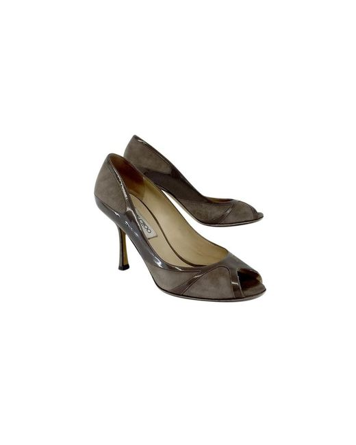 Jimmy Choo - Brown Taupe Suede & Patent Leather Pumps - Lyst