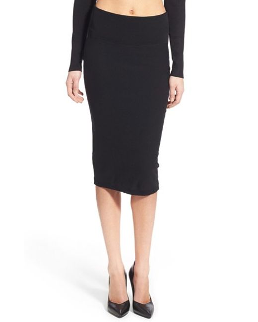 Kendall + kylie Knit Pencil Skirt in Black | Lyst
