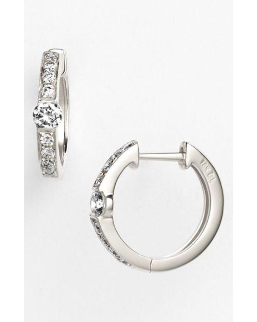 Bony Levy | Metallic 'linea' Small Diamond Hoop Earrings (nordstrom Exclusive) | Lyst