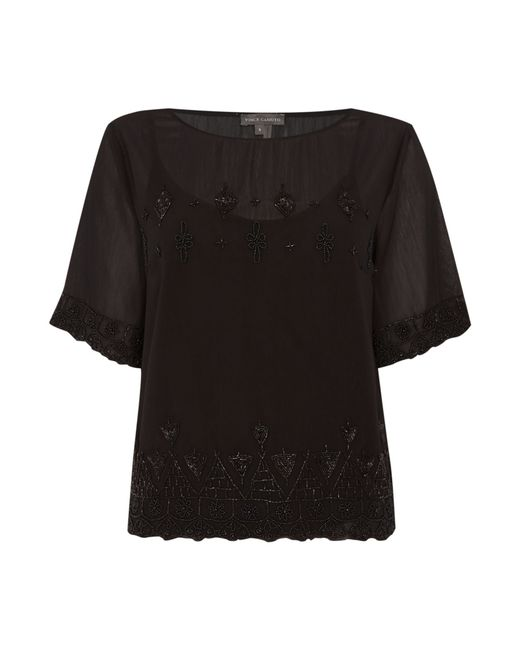 Vince Camuto | Black Short Sleeve Beaded Top | Lyst