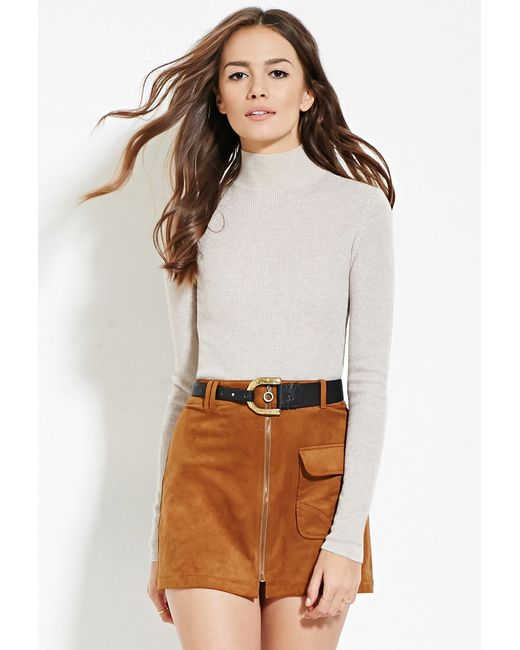 Forever 21 | Natural Contemporary Mock Neck Ribbed Sweater You've Been Added To The Waitlist | Lyst