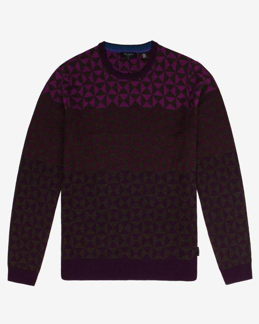 Ted Baker | Purple Ombré Pattern Wool Jumper for Men | Lyst