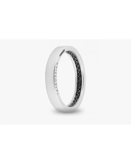 Tateossian | Engagement Ring In 18k White Gold With Black Diamonds for Men | Lyst