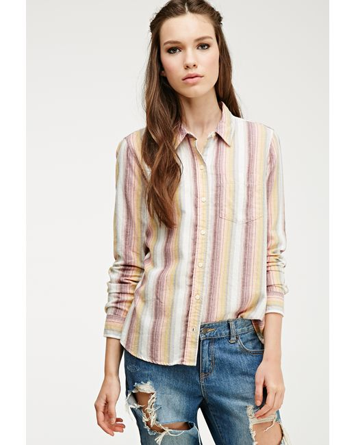Forever 21 | Yellow Multi-striped Flannel Shirt | Lyst